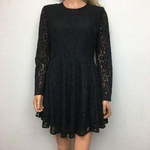 Black Lace Skater Dress